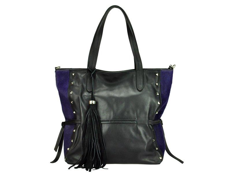Čierna kožená kabelka Innue E261